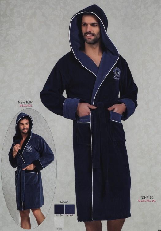 badf4a9188d4fd4 Мужской удлиненный халат на запах с капюшоном 100% бамбук (Nusa R7160)