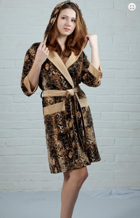 14da7185aef7 Женский велюровый халат на запах с капюшоном, бамбук (Nusa R15110 ...